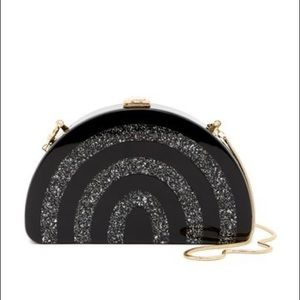 MILLY black and silver half moon clutch